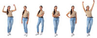 Full length portraits of young woman