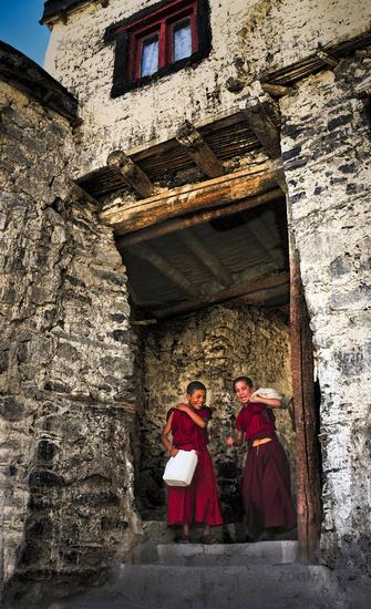 Monks, Diskit Monastery, Ladakh, India