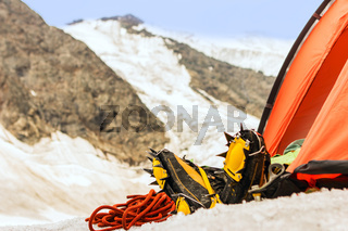 The climber has resting in tent high in mountains