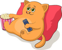 Cartoon Cat Televiewer