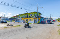 Panama, Armuelles port town, street life in the center of town in a sunny day