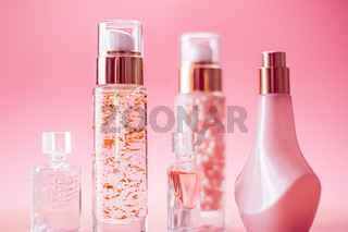Beauty and cosmetic products on pink background