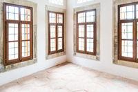 Light interior room with big windows
