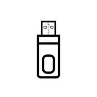 Usb flash drive simple black icon on white