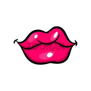 Pink red woman lips in pop art style.
