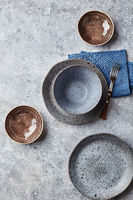 Food background. Empty plates on grey background. Top view, flatlay, copyspace