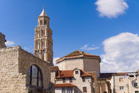 Cathedral of St. Duje bell tower in sunny day, Split, Croatia