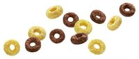 Falling chocolate corn rings isolated on white background