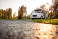 Family vacation travel RV, holiday trip in motorhome