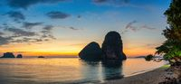 Tropical islands sunset view with ocean sea water at Phra Nang Cave Beach, Krabi Thailand nature landscape panorama