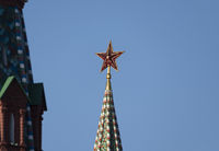 MOSCOW , RUSSIA, June 10, 2019: Ruby star on the spire of the Spasskaya Tower of the Moscow Kremlin on June 10, 2019 in Moscow, Russia