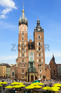 View at St. Mary's Church, famous landmark in Krakow, Poland.