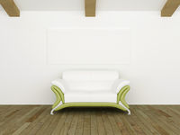 Modern sofà white and green