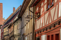 Facades of historic half-timbered houses in Meiningen, Thuringia