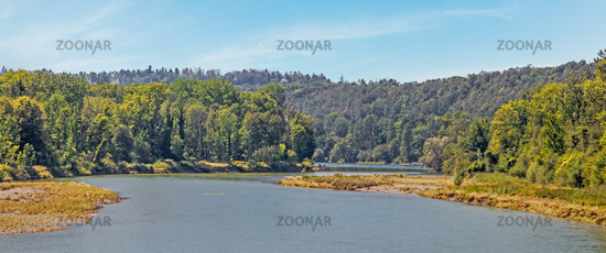 Thur estuary into the Rhine near Flaach, Canton of Zurich Switzerland