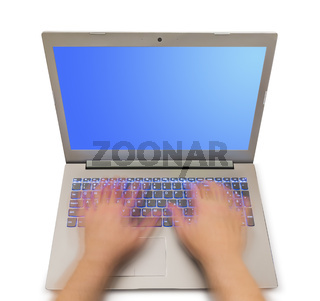 Notebook and motion blur hands