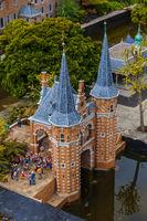 The Hague, Netherlands - April 26, 2017: Castle in Madurodam miniature park in The Hague