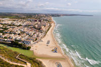 Aerial drone point of view sandy beach of Mil Palmeras,  Spain