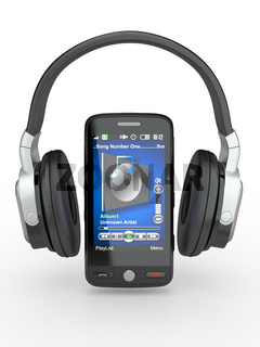 Mobile phone with headphones on white background. 3d