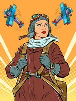 female retro pilot. professional military pilot Pop art retro illustration