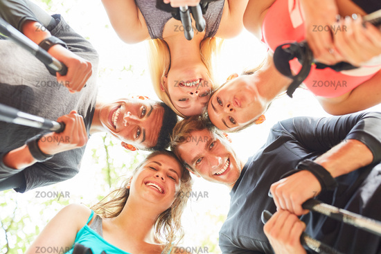 Group of teens as friends in circle