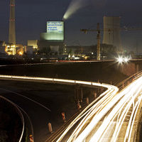 A 43 motorway in the evening with Steag Herne power plant in the background, Herne, Germany, Europe