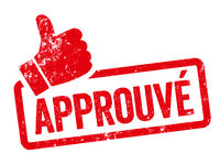 Red stamp with thumb - Approved in french - Apprové