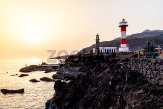 Sunset on the volcanic coast at Fuencaliente Lighthouse in La Palma
