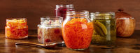 Fermented, probiotic food rustic panorama. Canned vegetables
