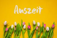 Colorful Tulip, Text Auszeit Means Downtime, Yellow Background