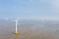 aerial view of wind farm on mud flats wetland