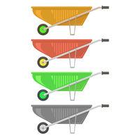 Colorful Wheelbarrow Set Isolated on White Background