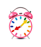 One pink retro alarm clock isolated on white
