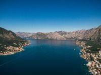 Aerial frame from the drone of Kotor Bay, Montenegro.