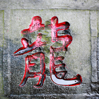 dragon word carved stone of chinese calligraphy