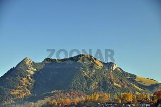 Grünten, ein 1738 Meter hoher Bergrücken im Landkreis Oberallgäu, Allgäuer Alpen, Allgäu, Bayern, Deutschland, Europa