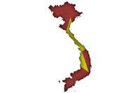 Karte und Fahne von Vietnam auf Filz - Map and flag of Vietnam on felt