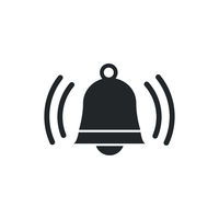 Ringing bell sign, jingle icon on white background