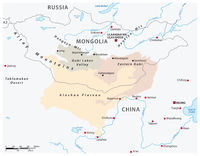 Map of the Central Asian Gobi Desert, Mongolia, China