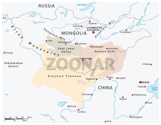 Map of the Central Asian Gobi Desert, Mongolia, China