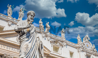 Saint Peter statue in front of Saint Peter Cathedral - Rome, Italy - Vatican City