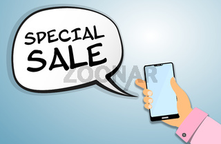 hand holding smartphone with SPECIAL SALE announcement message