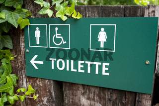 sign toilette men women and disabled