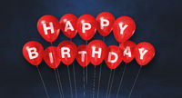 Red happy birthday air balloons on a black background scene. Horizontal Banner