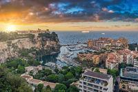 Monte Carlo Monaco, sunrise city skyline at Ville port