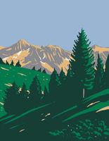 Mercantour National Park or Parc National Du Mercantour in Alpes-De-Haute-Provence and Alpes-Maritimes Department France Art Deco WPA Poster Art