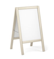 Advertising stand with wooden frame