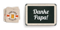 White Coasters Vatertag Danke Papa Blackboard