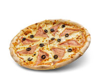 Pizza with cheese and tomato sauce isolated on white background. Deliciouse olive and ham topping.