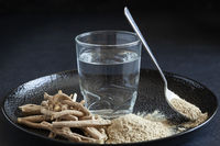 Ashwagandha superfood powder, root and drink.
